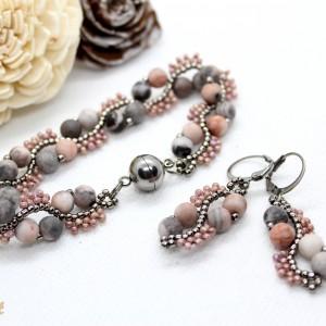 Delikatny komplet biżuterii z kamieni naturalnych