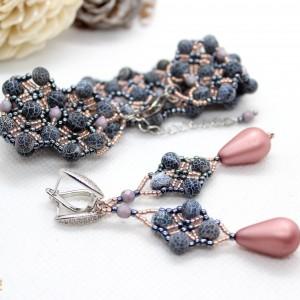 Elegancki komplet biżuterii z agatu ognistego
