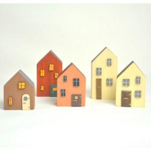 Drewniane domki dekoracyjne - zestaw 3
