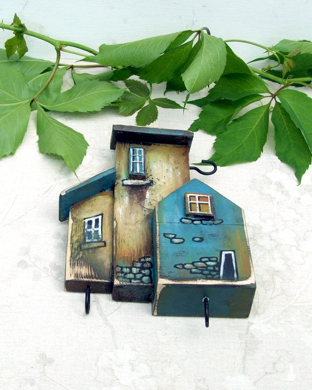 Wieszaczek na klucze, drewniany, ręcznie malowany