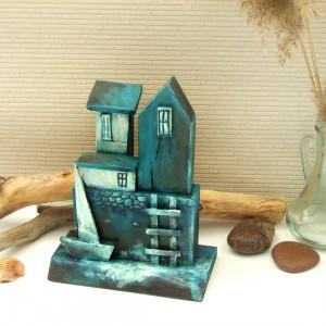 Domek nad zatoczką - dekoracja z drewna