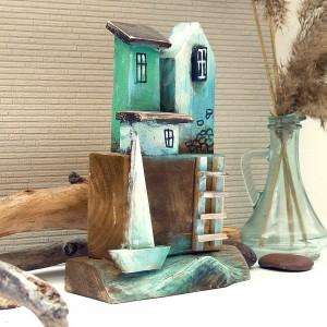 Domek nad zatoczką - drewniany, ręcznie malowany