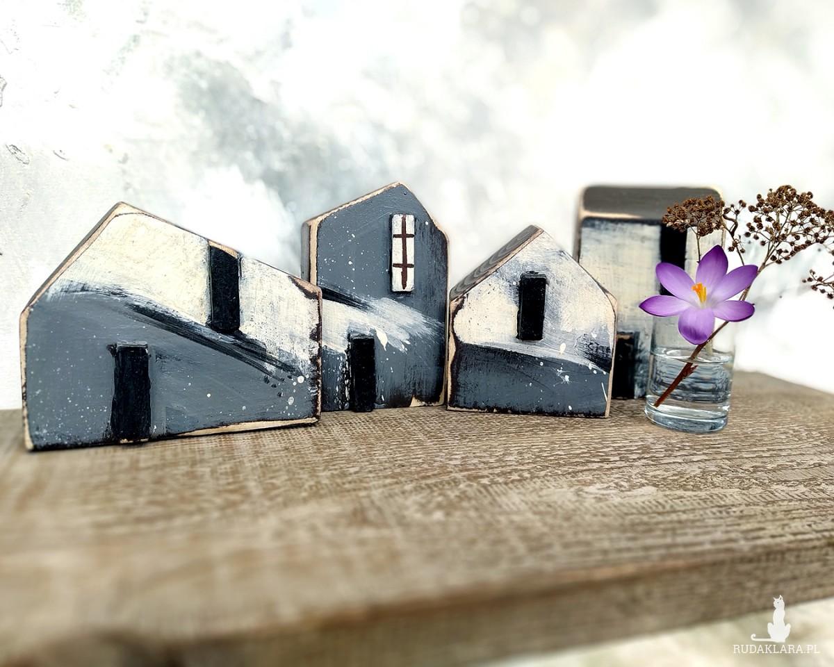 Komplet domków dekoracyjnych - 4 domki biało-grafitowe
