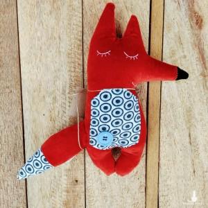 Lisek welurowy, przytulanka dla dzieci handmade