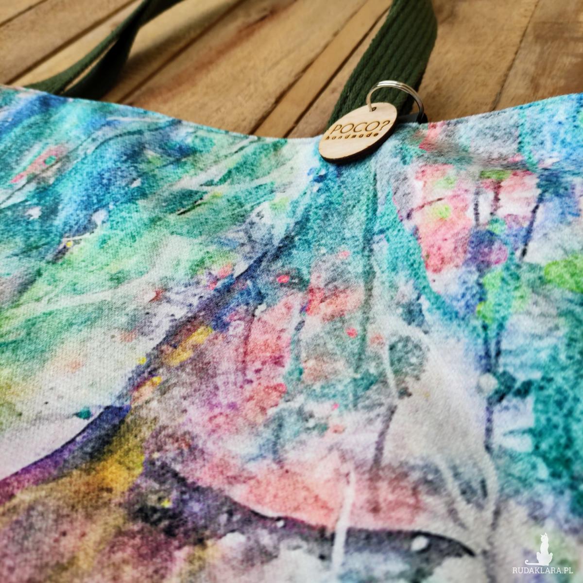 Torba na ramię Dusze Lasu, welur 50x50 cm