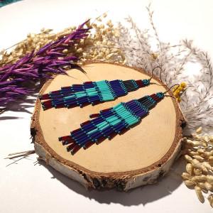 Ticala -  etniczne kolczyki, indiańskie kolorowe kolczyki boho