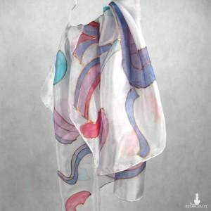 Szaro-liliowa geometryczna ręcznie malowana jedwabna chusta