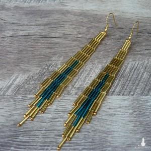 Serenity -  etniczne kolczyki, indiańskie złote kolczyki boho