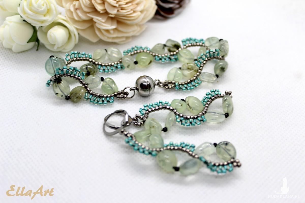 Delikatny komplet biżuterii z kamieni naturalnych prehnitu