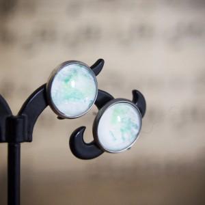 Kolczyki sztyfty, zielone, ręcznie malowane szkło