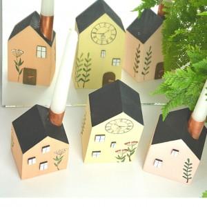Drewniane domki dekoracyjne – zestaw 6