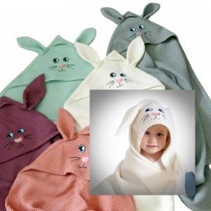 Duży ręcznik wafelkowy z kapturkiem 100 x 100   - króliczek z uszkami