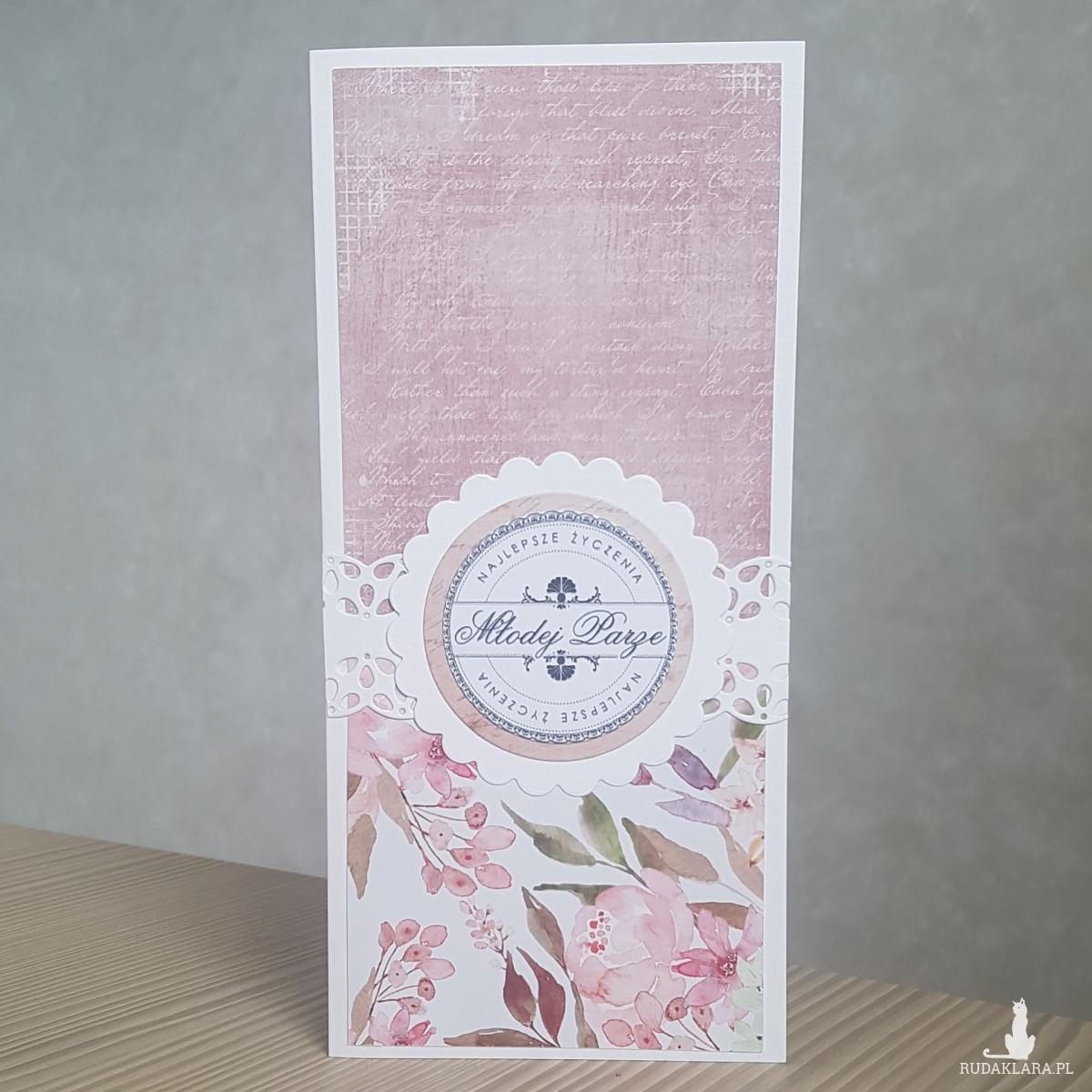 Kartka ślubna róż