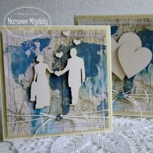 Komplet ślubny Podróż, kartka z pudełkiem