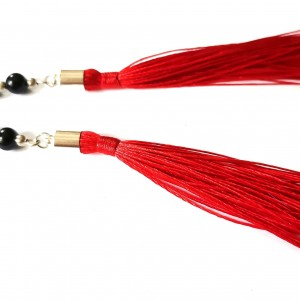 Klipsy czerwone długie lekkie chwosty