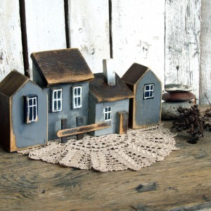 Zestaw domków dekoracyjnych - szary