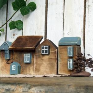 Zestaw domków dekoracyjnych, brązowo-niebieski