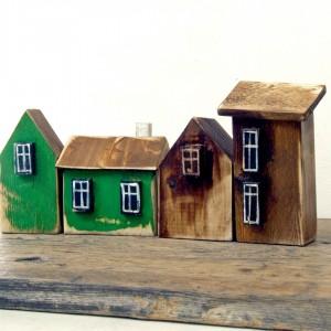 Zestaw domków dekoracyjnych, brązowo-zielony
