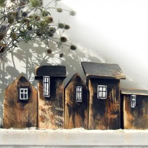 Zestaw domków dekoracyjnych, brązowy - 5 domków