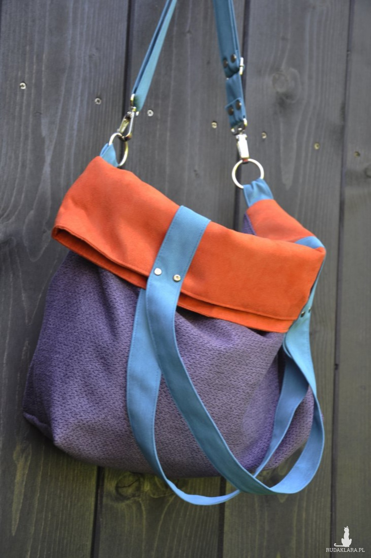Torba na ramię - color block - fiolet, pomarańcz, turkus