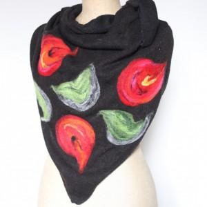 czarna chusta handmade wełniana handmade