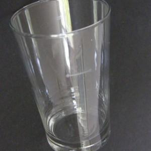 Szklanka mała z miarką, literatka prl