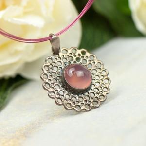 Srebrny naszyjnik z różowym agatem a859