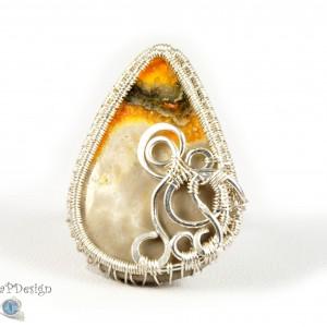 Jaspis trzmieli bumblebee, Srebrny pierścionek regulowany z jaspisem, ręcznie wykonany prezent dla niej prezent dla mamy prezent urodzinowy