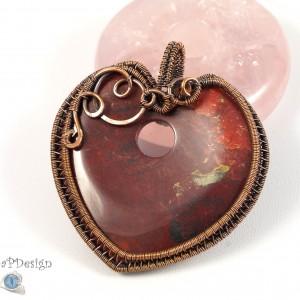 Jaspis czerwony, Miedziany wisior z jaspisem, ręcznie wykonany, prezent dla niej, prezent dla mamy, prezent urodzinowy, biżuteria autorska