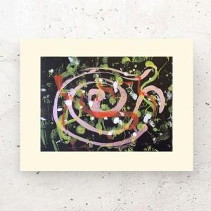 grafika ciepłe kolory, abstrakcyjny rysunek do domu, nowoczesny obraz do loftu, minimalistyczna grafika na ścianę