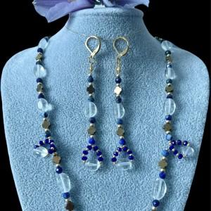 Komplet biżuterii z Lapis Lazuli i kryształ górski