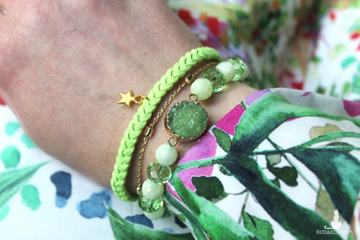 Komplet bransoletek z jadeitów i agatu