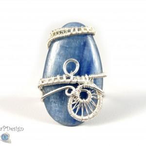 Kyanit niebieski, Srebrny pierścionek z Kyanitem, ręcznie wykonany, prezent dla niej prezent dla mamy, prezent urodzinowy biżuteria autorska