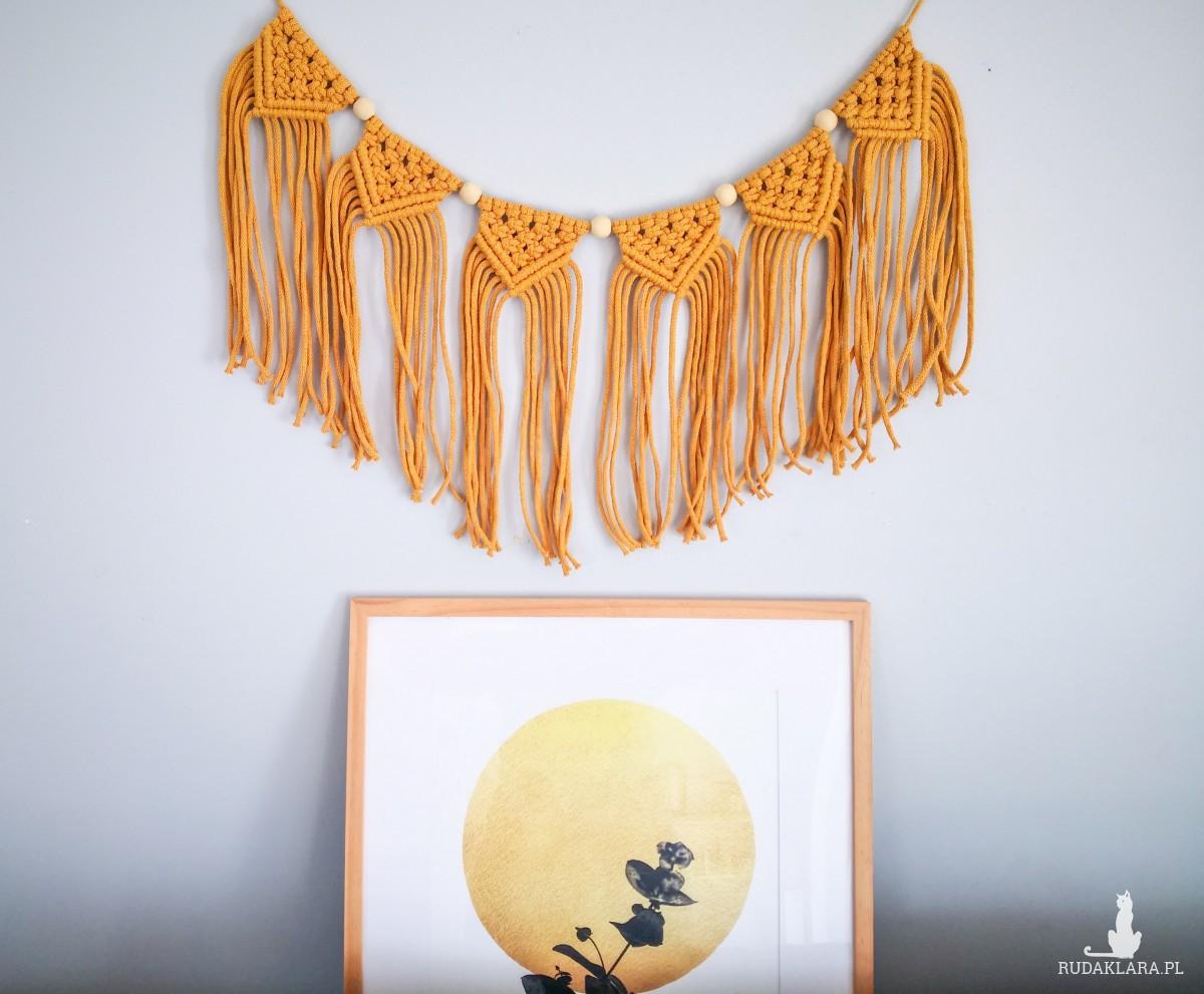 Makrama girlanda dekoracja musztardowa