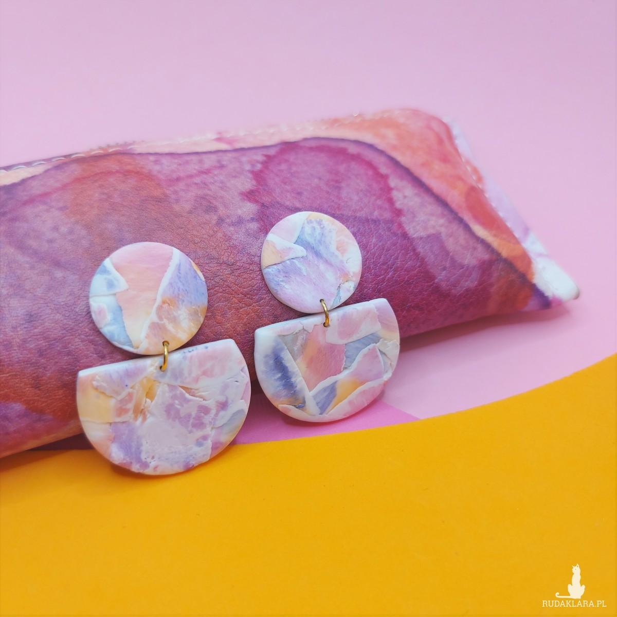 kolczyki watercolor glina polimerowa