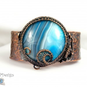 Agat  i miedź, Miedziana bransoletka z niebieskim agatem ręcznie wykonana prezent dla niej prezent dla mamy prezent regulowana
