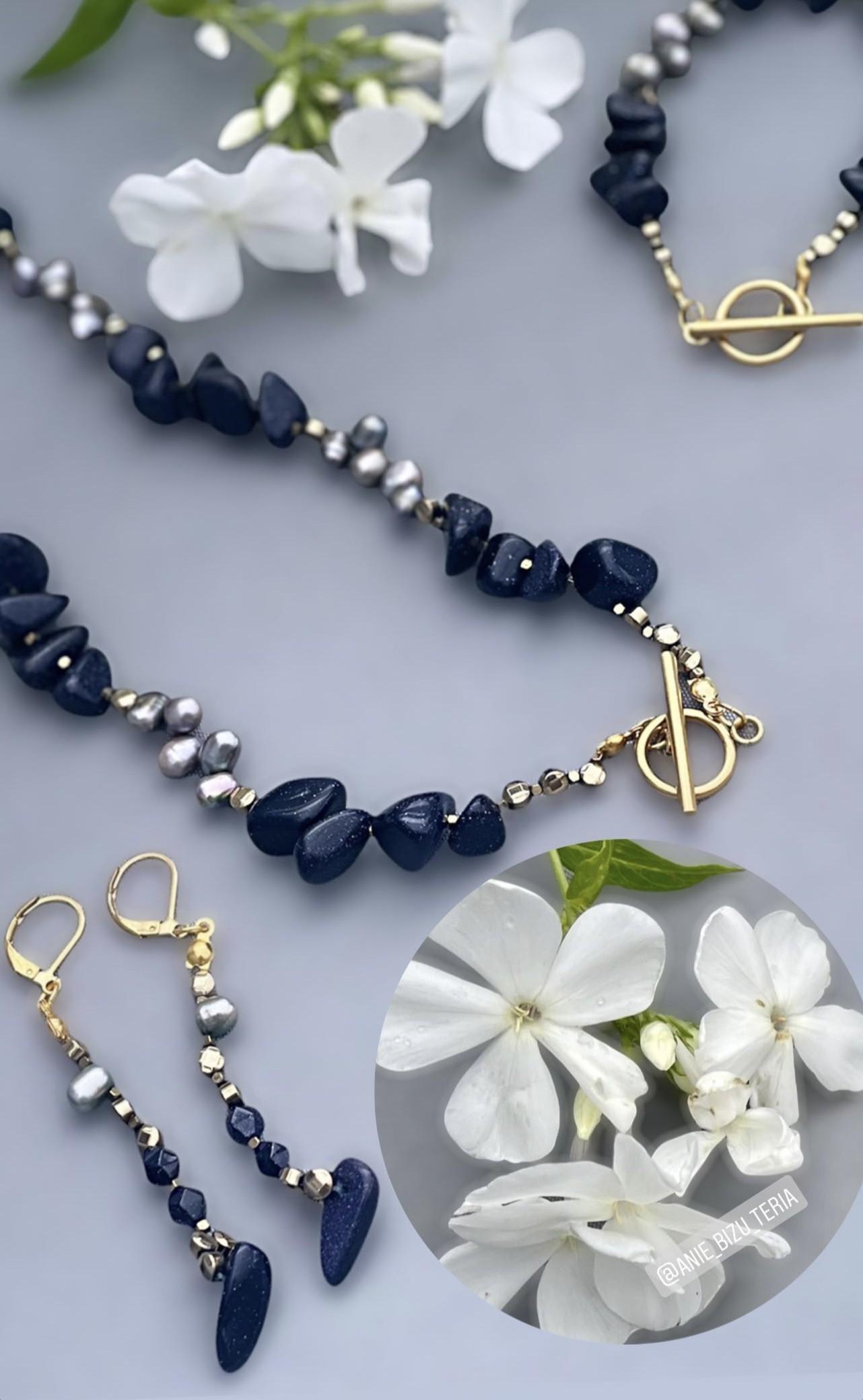 Komplet biżuterii w gwiaździstym pyle Noc Kairu i perły