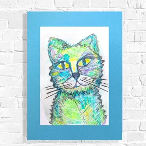 obraz z kotem, kot rysunek do domu, kot dekoracja na ścianę, ręcznie malowany rysunek kota,