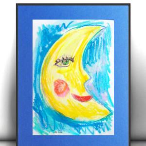 bajkowy obraz, rysunek z księżycem, księżyc obraz malowany ręcznie, księżyc grafika na ścianę, akwarela