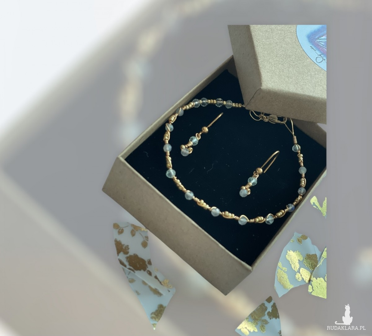 Komplet biżuterii z fluorytem
