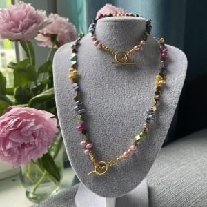 Komplet biżuterii z perłami i hematytem