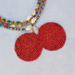 Kolczyki Boho Mandala Czerwony Melanż