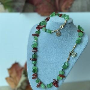 Komplet biżuterii jesiennej z agatem i nefrytem