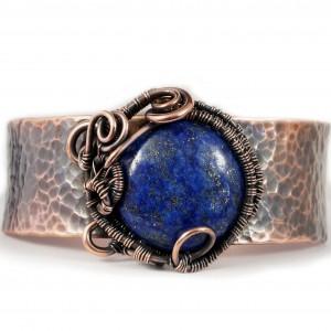 Lapis lazuli i miedź, Miedziana bransoletka z niebieskim lapisem ręcznie wykonana prezent dla niej prezent dla mamy prezent regulowana