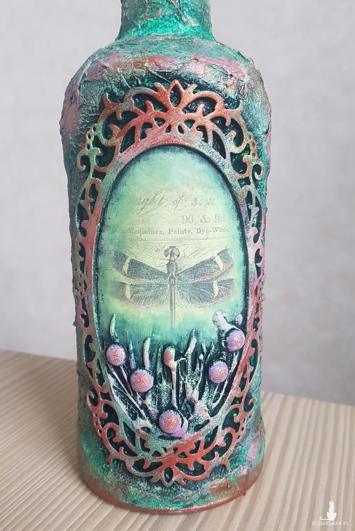 Butelka zdobiona Ważka
