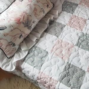 Prowansalska narzuta i poduszka patchwork Shabby Chic dla dziewczynki pikowana