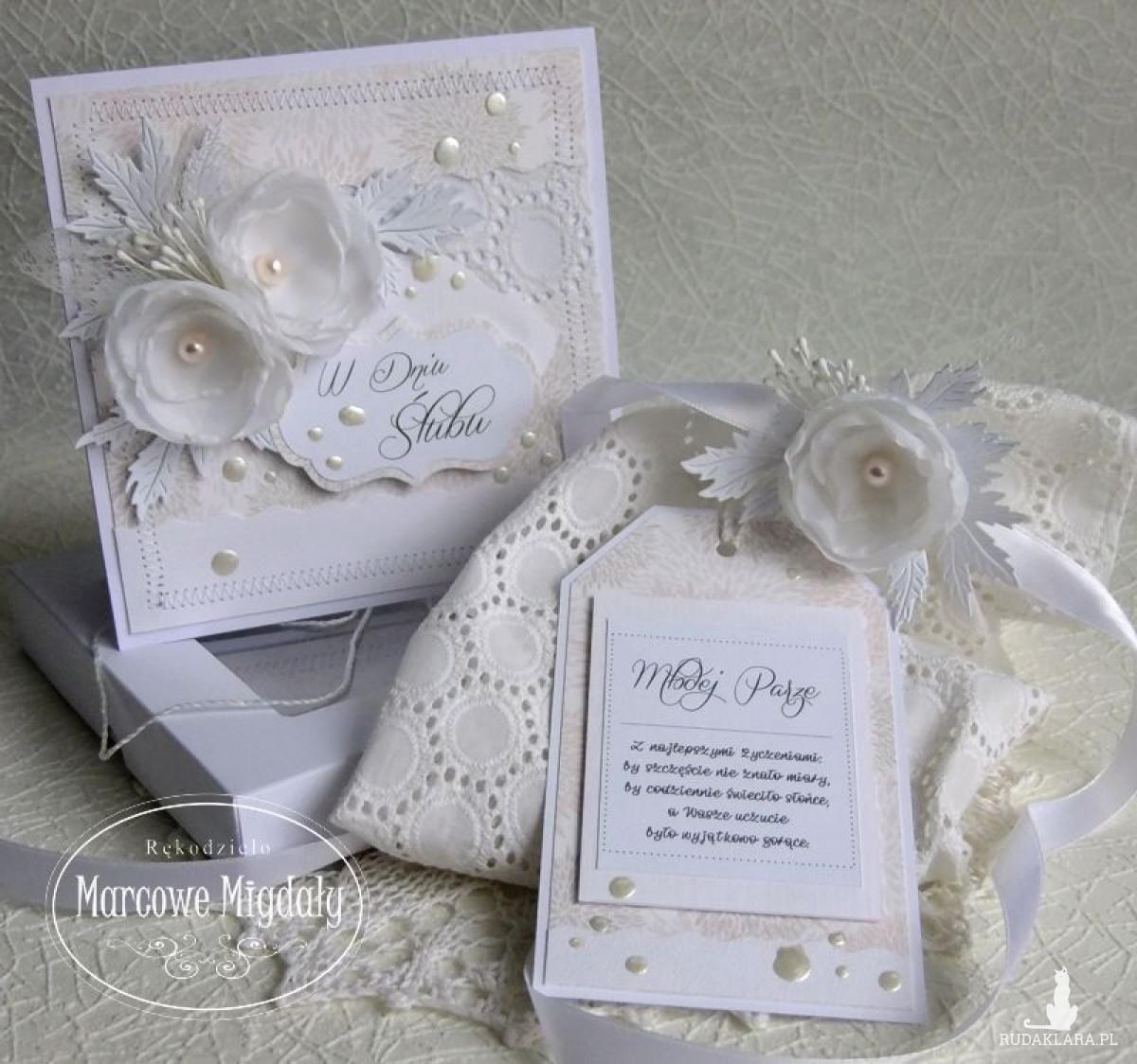 Komplet ślubny biały, kartka w pudełku i torebka na alkohol