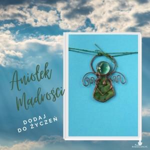 Kartka na życzenia z zielonym aniołkiem