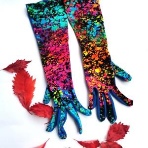 Rękawiczki dzininowe kolorowe printy