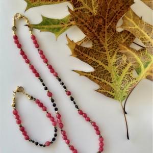Komplet biżuterii z jadeitem i granatem